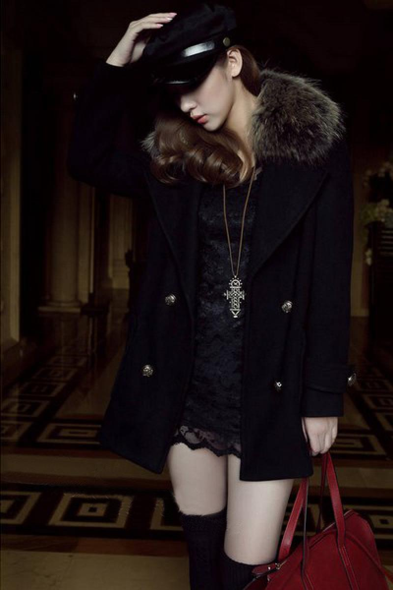 2013 Autumn & Winter New Raccoon Fur Collar Double-breasted Woolen Overcoat,Cheap in Wendybox.com