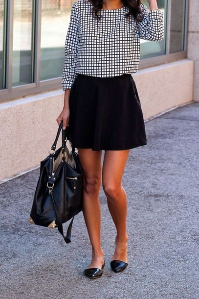 blouse checked blouse office outfits black skirt black flared skirt black flats black leather handbag office outfits