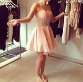 dress,peachy pink,prom dress,short prom dress,prom,teenagers,pink,rose,juwel,nude,pearl,jewels,corall,saumon,pink dress,pastel,pastel pink,light pink,short,sleeveless,bling,homecoming dress,short dress,dusty pink,bedazzled
