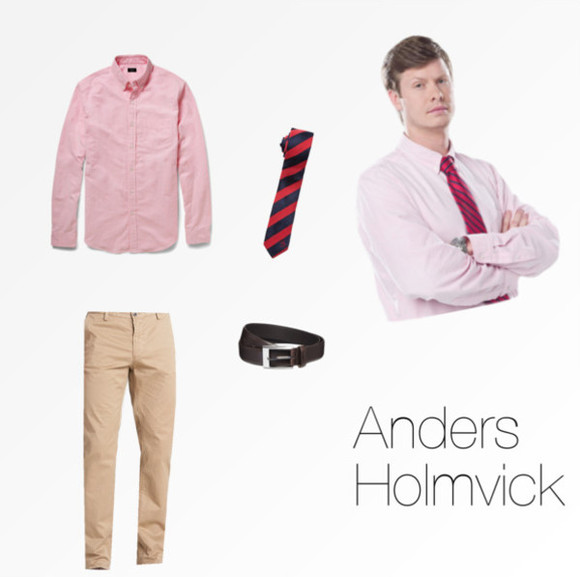 belt pants workaholics anders holm anders holmvick sexy motherfucker striped tie red tie blue tie khaki pants men pink shirt dark brown belt sexy