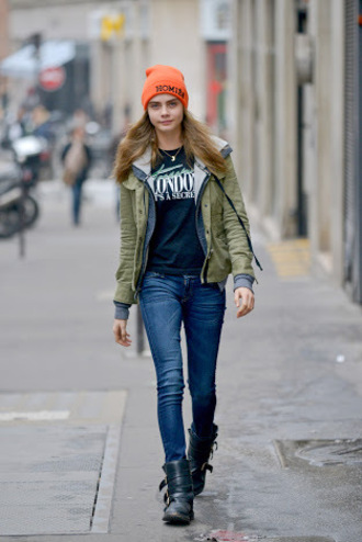 coat green jacket cara delevingne model fashion
