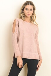 top,blush,pink,cold shoulder