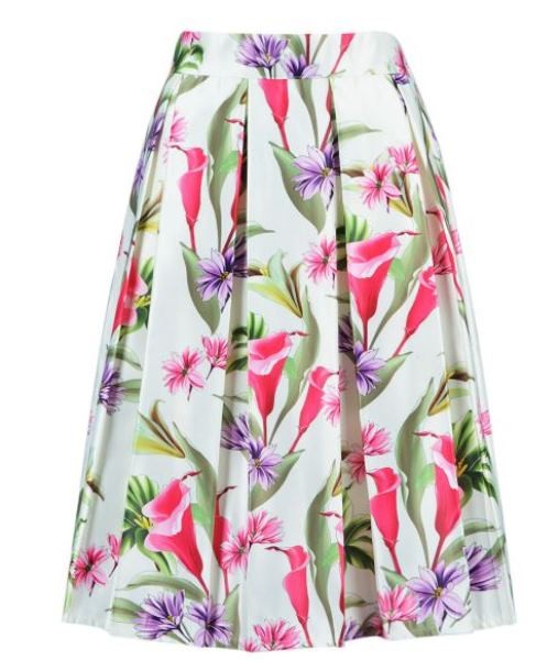 White Floral High Waist Mid Skirt