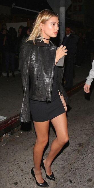 jacket all black everything fall outfits pumps hailey baldwin mini dress biker jacket