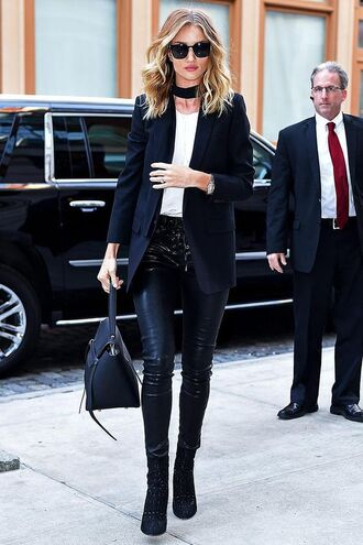 pants celebrity work outfits work outfits black pants office outfits black leather pants leather pants top white top blazer black blazer bag celine celine bag black bag handbag black choker choker necklace boots black boots high heels boots sunglasses black sunglasses cat eye rosie huntington-whiteley celebrity style celebrity model model off-duty