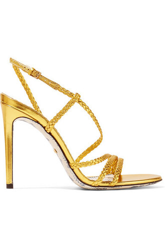 metallic braided sandals leather sandals gold leather shoes
