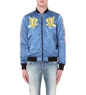jacket,blue jacket,bomber jacket,embellished,birds