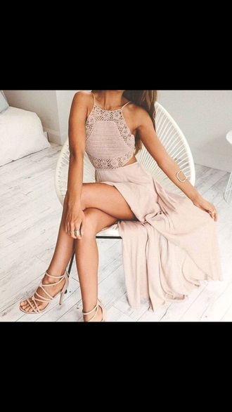 skirt top dress begie formal dress shoes elegant white brown knitted dress lace dress crochet long dress crochet dress blush pink pink dress maxi dress peach dress peach lace pink