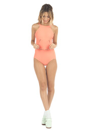 top,coral,halter top,monokini,one piece,orange,bikiniluxe,one piece swimsuit,sun,retro bikini,pastel swimwear,summer,bodysuit