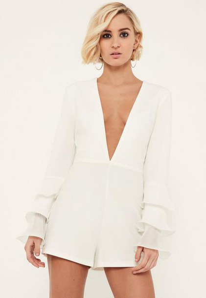 Missguided White Pleated Flute Sleeve Plunge Romper