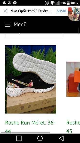 shoes nike roshe run floral black