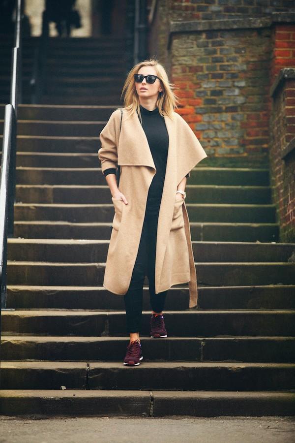 fashionism blogger camel coat long coat sneakers coat top pants shoes bag sunglasses camel long coat