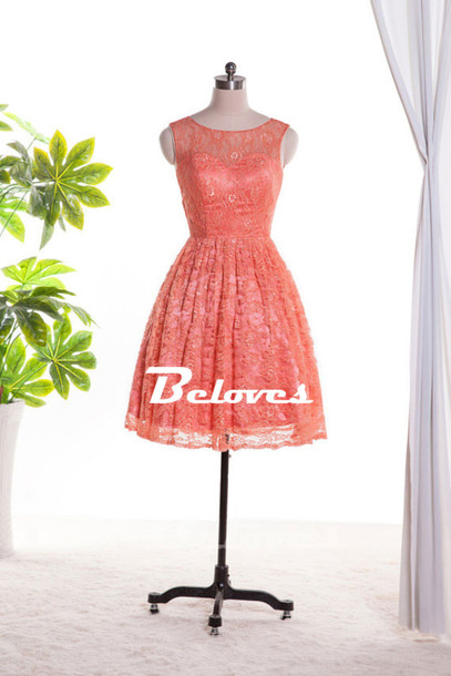 dress coral lace short party dress 2015 lace boat neckline dress