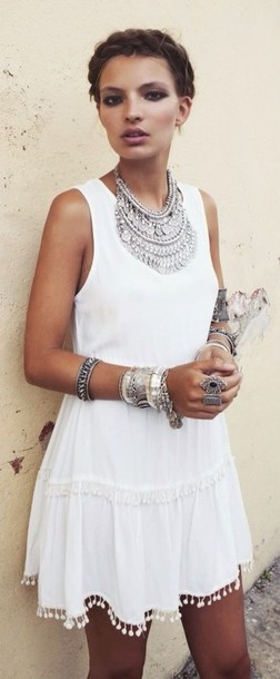 dress summer dress ocean hippie boho dress jewels white dress