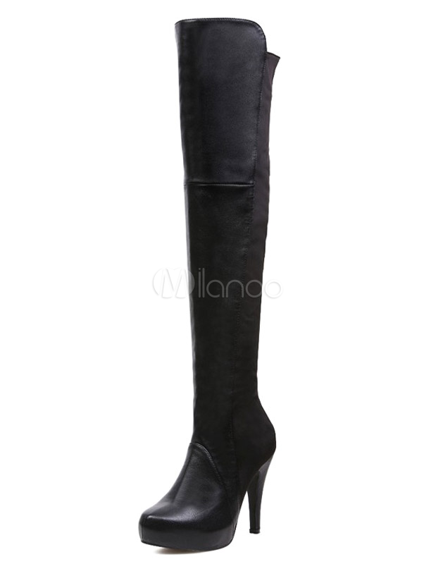 Stylish Black Stretchy PU Leather Woman's Over the Knee Boots  - Milanoo.com
