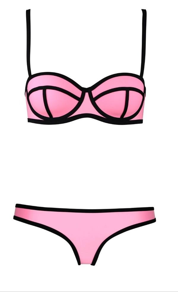swimwear swimwear bikini unbranded sexy bikini bandeau triangle push-up beach solid triangl pink