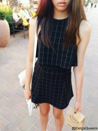 dress black and white dress two piece dress set crop grid black loose