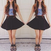 skirt,black high waisted,tank top,fashion,high waisted skirt,black sandals,beeded,strappy sandals,shirt,top,denim,button,down,cute,skater skirt,cutie,girly,girl,bustier,blouse,love,strapless
