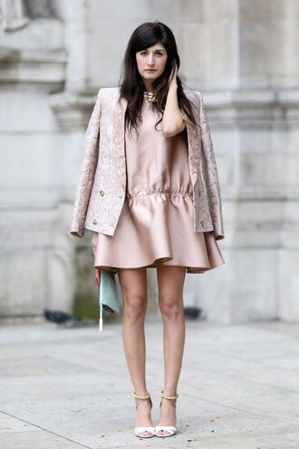 dress fashion week pink satin jacquard blazer streetstyle pink satin dress satin dress pink dress drop waist drop waist dress ankle strap heels pink blazer