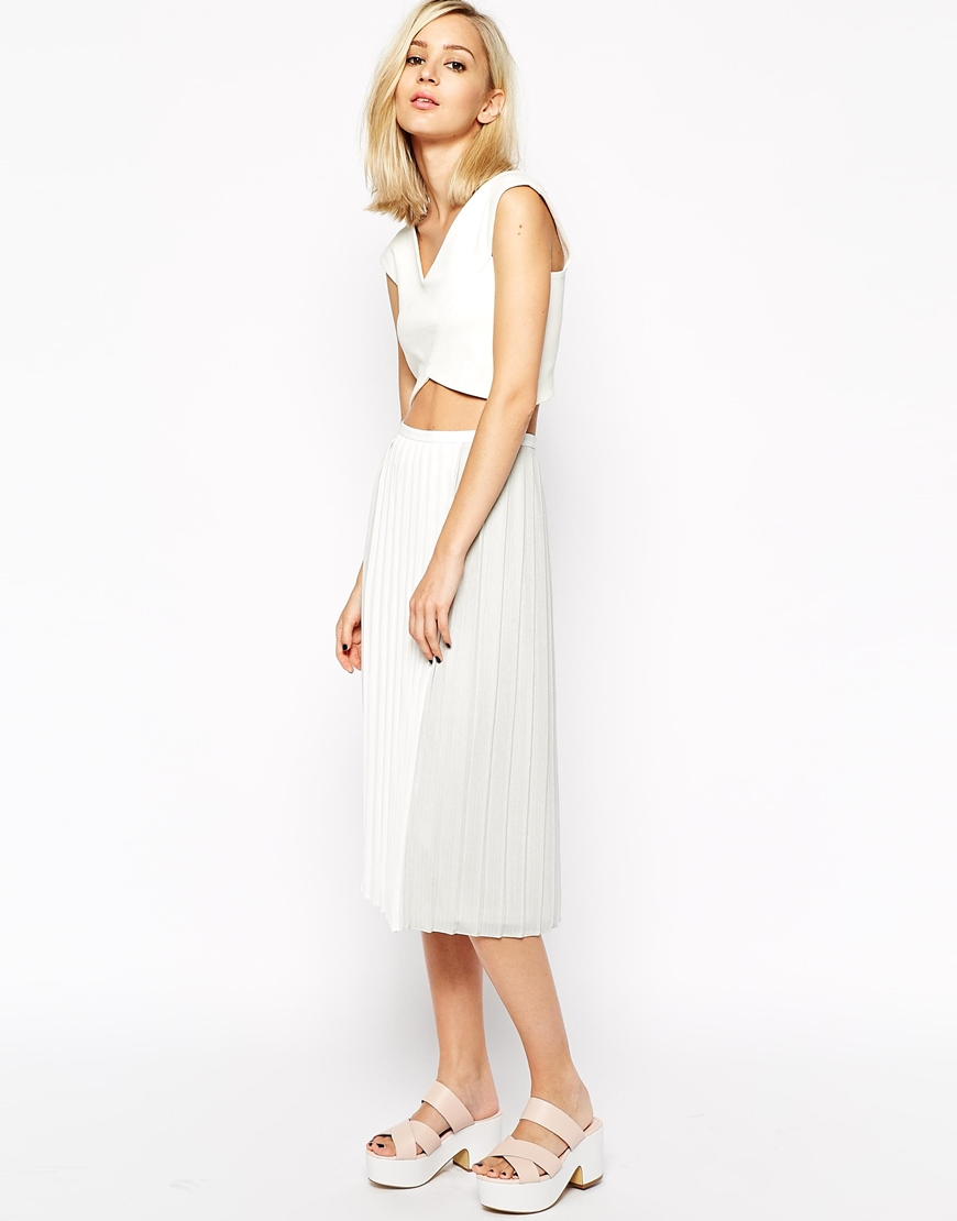 River Island Metallic Pleated Midi Skirt at asos.com