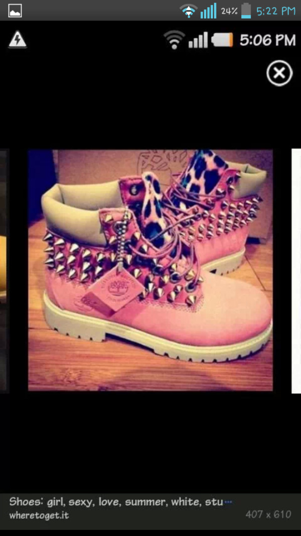 shoes pink spikes boots timberlands