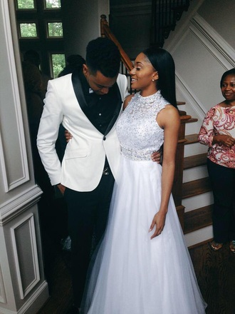 dress couple prom dress white dress sparkly dress wedding dress long dress poofy dress prom gorgeous sleeveless light