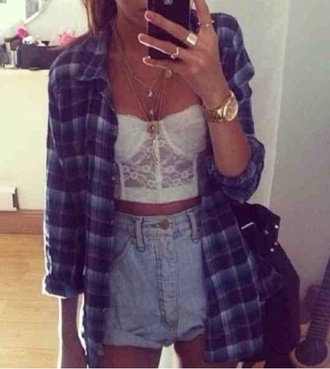 shirt lace corset bralet bralette white crop top plaid checked checkered blue purple oversized jewels