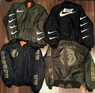 coat nike nike jacket black green
