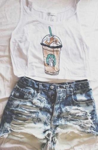 tank top starbucks coffee tumblr pinterest shorts