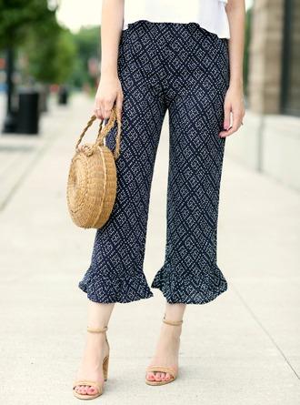pants tumblr blue pants cropped pants bag round bag sandals sandal heels high heel sandals shoes