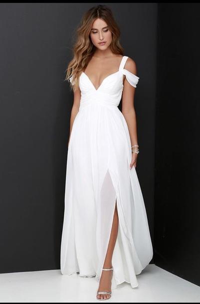 dress white long v neck sheer
