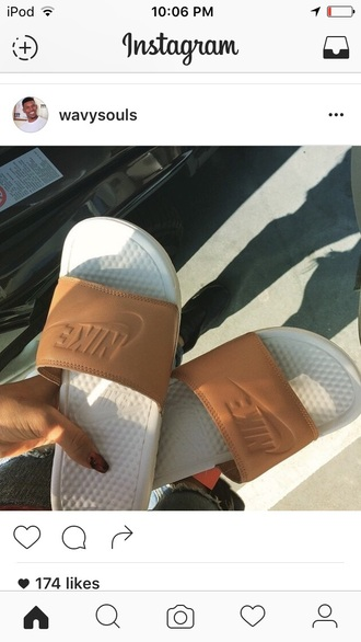 shoes nike tan slide shoes