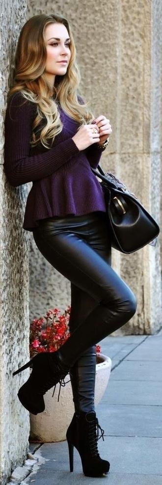shoes black leather pants pants t-shirt