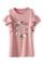 Romwe off shoulder flouncing floral embroidered pink t