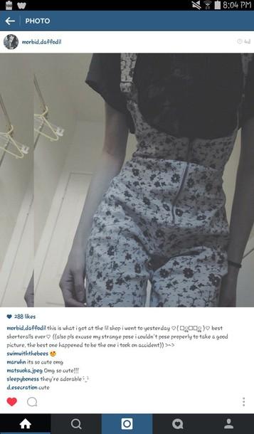 romper floral vintage jumpsuit overalls dark vintage dark hipster fashion kawaii shirt