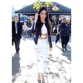 jeans white ripped cute skinny jeans camila cabello pants white ripped jeans