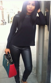 pants,leather leggings,black,jeans,crop tops,top,leather top,vest,blouse,faux leather