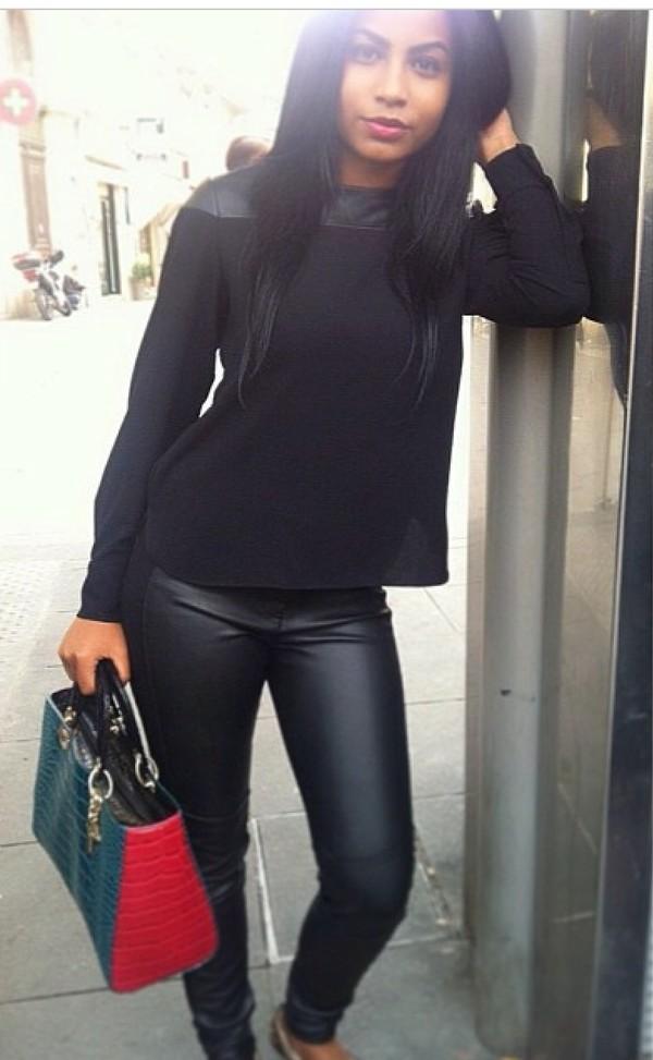 Pants: leather leggings, black, jeans, crop tops, top ...