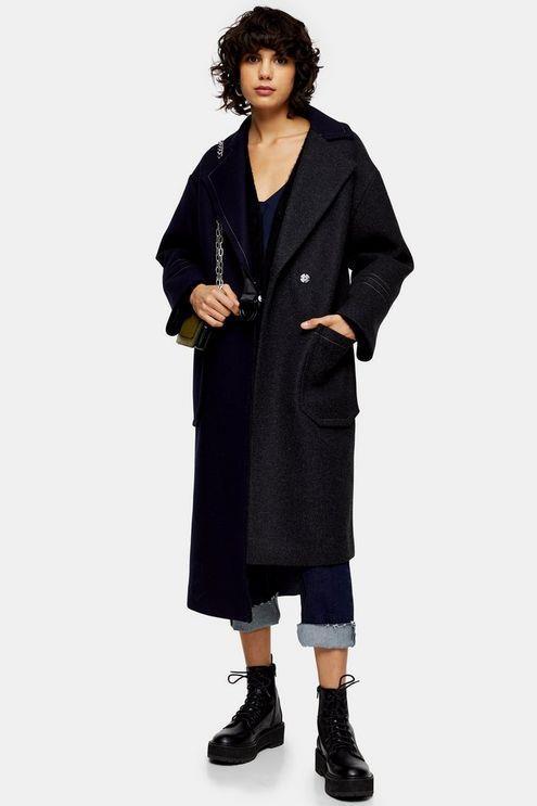 Asymmetric Belted Coat - Multi