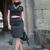 Grey crop top and Pencil skirt