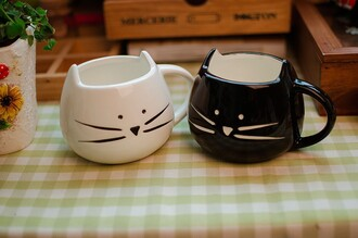 mug white kawaii cats home accessory
