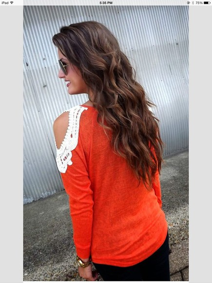 shirt sweater orange shirt orange lace