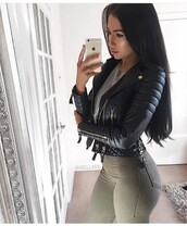 jacket,leather jacket,black jacket,winter jacket,black leather jacket,biker jacket,long sleeves,olive green,jeans,pants,high waisted jeans,grey,grey top,high waisted,skinny jeans,skinny pants,outfit,outfit idea,fall outfits,winter outfits,party outfits