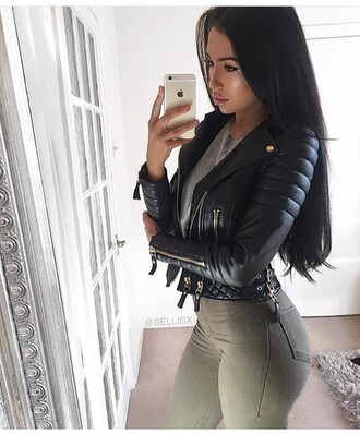 jacket leather jacket black jacket winter jacket black leather jacket biker jacket long sleeves olive green jeans pants high waisted jeans grey grey top high waisted skinny jeans skinny pants outfit outfit idea fall outfits winter outfits party outfits
