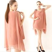 pink dress,chiffon dress,irregular dress,short dress,dress