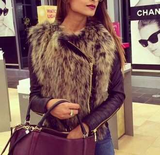 jacket fur leather jacket