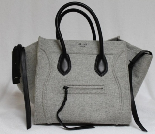 Celine Phantom Pearl Grey Luggage Wool Leather Medium Tote Bag ...