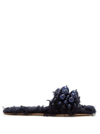 embellished navy shoes