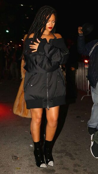 jacket off the shoulder rihanna boots bomber jacket shoes