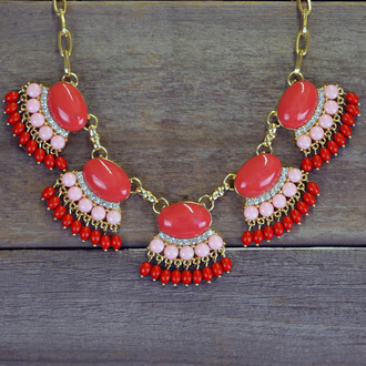 cherry jewels statement necklace coral antique look